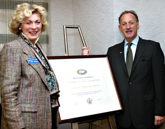 "Susanne Stirling, representing the California Chamber of Commerce, and Everett Golden, representing Otis McAllister. Both companies are 2009 recipients of the Presidents ""E"" award."