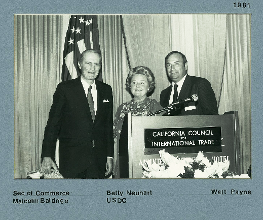 Secretary Malcolm Baldrige, U.S. Dept of Commerce, Betty Neuhard, Director - San Francisco, U.S. Dept of Commerce, and Walt Payne, CCIT Chair 1980 - 1982