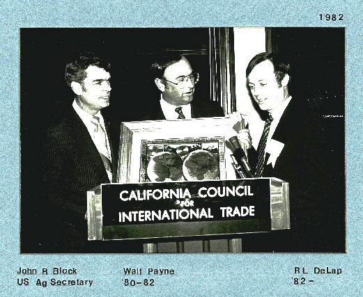 Secretary John Block, U.S. Dept. of Agriculture, Walt Payne, CCIT Chair 1980 - 1982, and R.L. DeLap, CCIT Chair 1982 - 1983