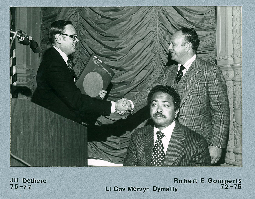 J.H. Dethero, CCIT Chair 1975 - 1977, CA Lt. Governor Mervyn Dymally, and Robert Gomperts, CCIT Chair 1972 - 1975
