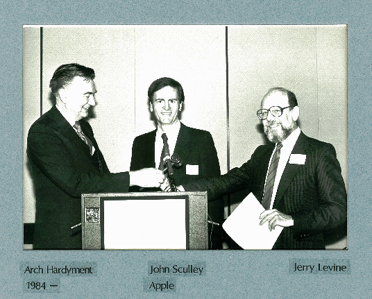Arch Hardyment, CCIT Chair 1984 - 1985, John Sculley, Apple, CCIT Awardee, and Jerry Levine, CCIT Chair 1977 - 1980