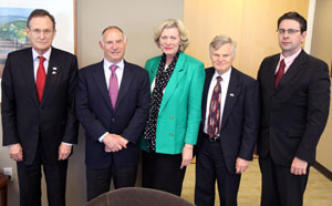 Pictured from Left to Right: Ambassador Gyorgy Szapary, Hungarian Ambassador to the United States, Mr. Allan Zaremberg, President & CEO, CalChamber, Mrs. Susanne Stirling, Vice President, International Affairs, CalChamber, Mr. Nicholas Bartsch, Hon. Consul, Hungarian Consulate in Sacramento, Dr. Gabor Kaleta, Consul, Hungarian Consulate in Los Angeles
