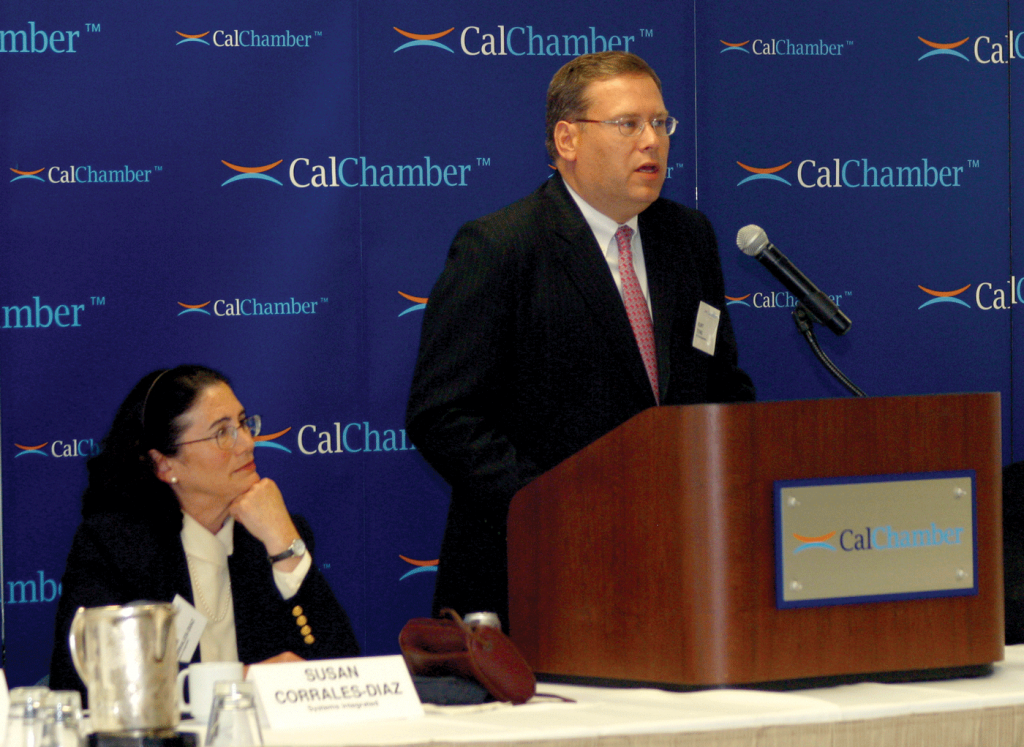 (June 1, 2011) Ambassador Kurt Tong discusses upcoming meetings of the Asia-Pacific Economic Cooperation (APEC) at an international forum presented by the CalChamber Council for International Trade, chaired by Susan Corrales- Diaz (left). At right is Gary J. Goldberg, council vice chair.