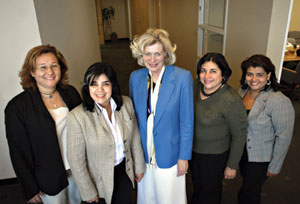 Meeting at the CalChamber are (from left) Mirtha Adames, executive director, Panamanian Chamber of Commerce; Cristina Torres, general secretary, Panama Ministry of Commerce and Industry; Susanne Stirling, CalChamber vice president, international affairs; Gloribel Arias Castillo, director, foreign trade promotion, Panama Ministry of Commerce and Industry; and Flor Bocharel, La Prensa news correspondent, Panama.