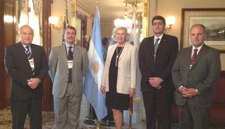 (Left to Right) The Honorable Roberto Miguel Lifschitz , Senator, Santa Fe Province Mr. Diego Sueiras, President, Fundación Nueva Generación Argentina (FNGA) Mrs. Susanne T. Stirling, Vice President International Affairs, CalChamber Mr. Juan Pablo Galleano, Secretary of the Stock Market, City of Rosario The Honorable Jorge Antonio Henn, Delegation Leader - Lieutenant Governor, Santa Fe Province