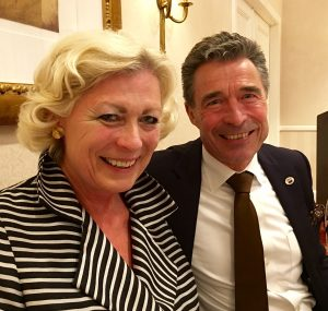 Mrs. Stirling sat next to former Prime Minister Anders Fogh Rasmussen at the dinner.
