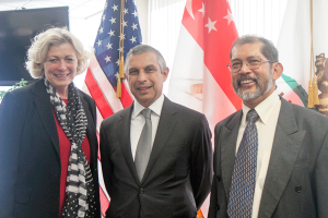 from left to right: Susanne T. Stirling, Vice President International Affairs, Singapore Ambassador to the United States, Ambassador Ashok Kumar Mirpuri and Chris Cheang, Consul General of Singapore