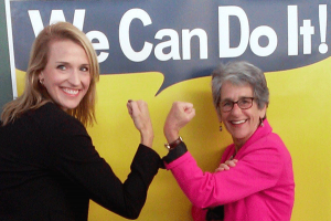 CalChamber Policy Advocate Jennifer Barrera and Senator Hannah Beth Jackson (D-Santa Barbara) flex their muscle in a show of support of SB 358 at the bill signing ceremony.