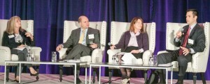 (From left) Jeanne Cain, CalChamber executive vice president for policy, moderates an examination of data security policy challenges with panelists Bradley Hayes of the U.S. Chamber; Lorinda Harris, DLA Piper; and Jeremy Merz, CalChamber policy advocate.