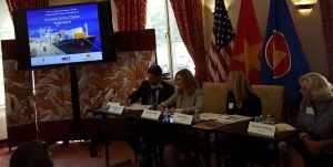 (From left) Christopher Wenk, executive director, international policy, U.S. Chamber of Commerce; Leslie Griffin, senior vice president, international public policy, UPS; Katie Hays, manager of government relations, Caterpillar; Susanne T. Stirling, vice president of international affairs, CalChamber.