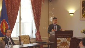 Drew Quinn at trade symposium
