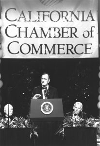 President George H.W. Bush speaks at CalChamber Gala Centennial Dinner, March 1, 1990.