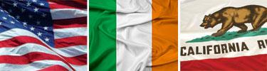US-Ireland-California Flags