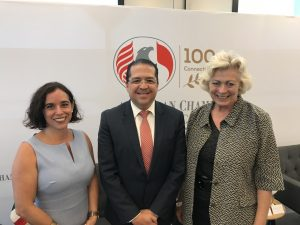 Jorge Torres (center), President of AmCham Mexico and President of FedEx Mexico, with the other Chamber of Commerce representatives on the mission: Paola Avila, Vice President, San Diego Chamber of Commerce (left) and Susanne Stirling, Vice President, International Affairs, California Chamber of Commerce.