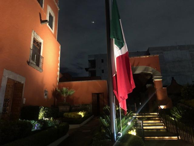 Mexican flag outside Hacienda de los Morales