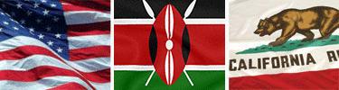 US - Kenya - California Flags