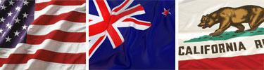 US, New Zealand, California Flags