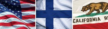 Flags of USA, Finland, California