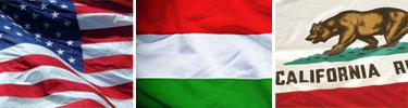 Flags of USA, Hungary, California