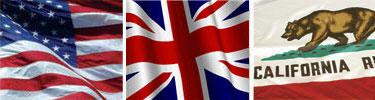 US, UK, California Flags