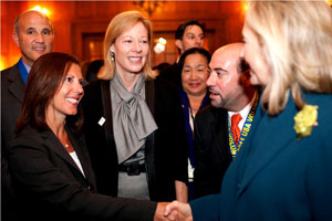 From right, Secretary of State Hillary Clinton, Paul Oliva of CalAPEC, Oakland Mayor Jean Quan, ....