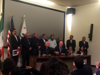 Gov. Brown met with Archbishop Jose Horacio Gomez and others to discuss immigration yesterday.