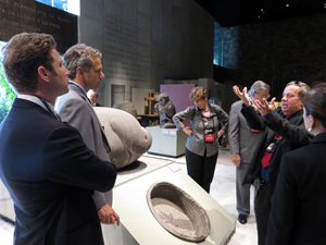 (From left) Dean Fealk, George John Gigounas, Kathleen Brown, Frank Damrell, Tour Guide Marco Antonio at the Museum of Anthropology.