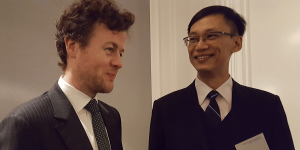 Irish Vice Counsel Colum Hatchell, Hong Kong Economic and Trade Office Director Ivanhoe Chang